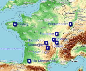 Carte des membres du réseau français